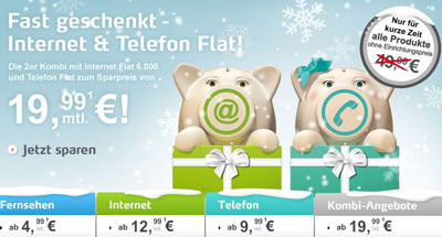 Telecolumbus Aktionen im Dezember 2010 fr Telefon, Internet und TV